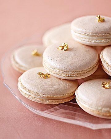 Dress these lovely pearlized macarons with edible gold leaf for an unexpected embellishmentGold Leaf, Blushes Pink, Sweets Treats, Wedding Ideas, French Macaroons, Wedding Desserts, Martha Stewart, Pink And Gold, Colors Glasses
