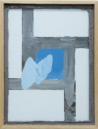 Sean Bailey, Ceremonial Square, 2013, synthetic polymer paint, collage, glass, board, artist frame, 43 x 33 cm.