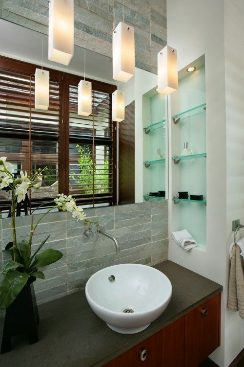 interior: Bathroom Design, Interior, Glass Shelves, Powder Room, Small Bathrooms, Sink, Bathroom Ideas, Photo, Modern Bathrooms