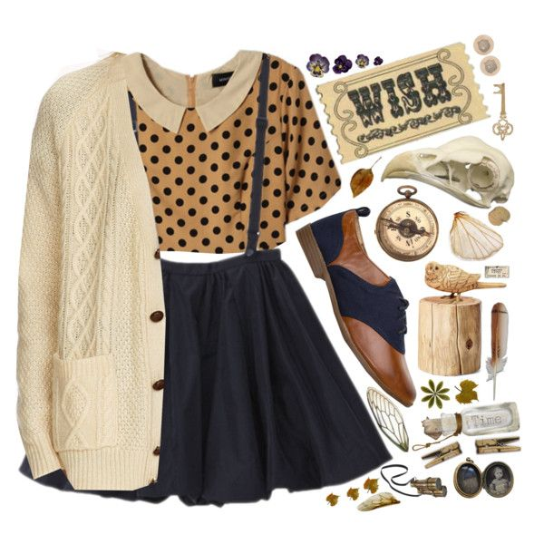 Tee-shirt fauve à pois + jupe patineuse bleu marine + gilet beige