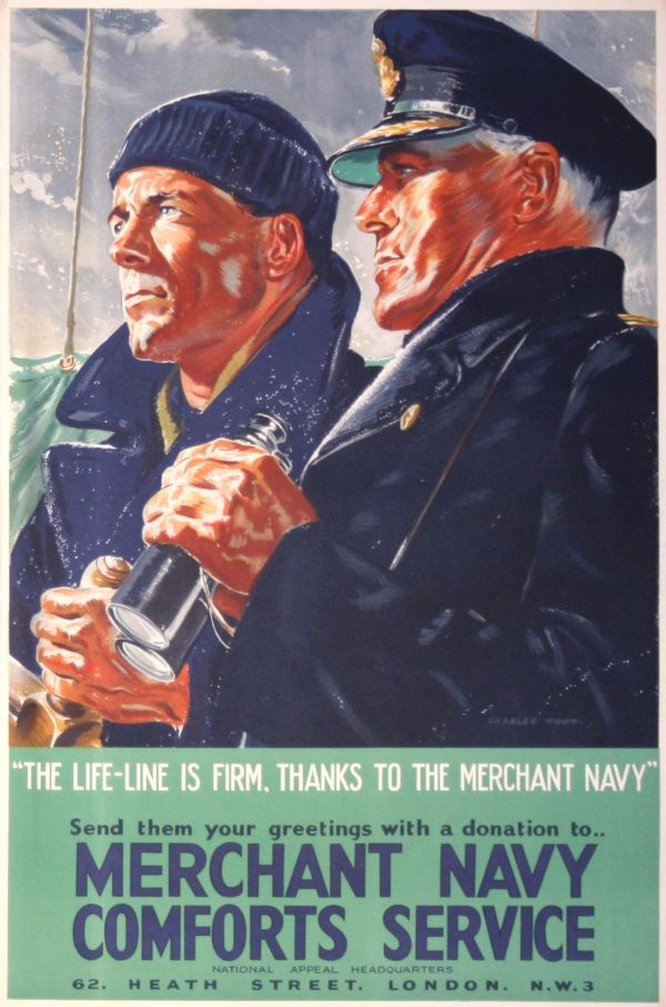 BRITISH WW II... The Life-Line is Firm - WWII £375.00 Original vintage poster: Merchant Navy Comforts Service, The Life-Line is Firm Thanks to The Merchant Navy. This poster was issued to raise fund in support the efforts of the Merchant Navy during World War Two. Fantastic artwork by Charles Wood featuring a captain with binoculars and a sailor.16