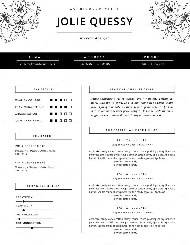 feminine resume _ stylish resume template cover letter for ms word _ fashion resume design _ floral design _ elegant cv template jolie - Fashion Designer Resume Sample