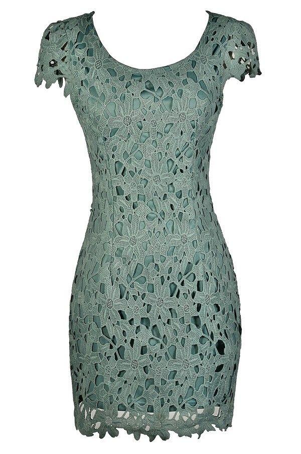 Aris Crochet Lace Capsleeve Pencil Dress in Sage