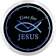 Time For Jesus Fish Néon LED Horloge murale