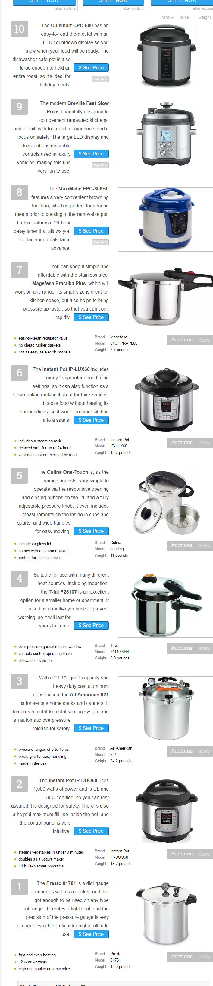 This article came from wiki.ezvid.com but I couldn't get it to copy so I took a screenshot and linked it. Pressure cookers not only cook foods faster than other methods, they save energy, too. Use one of these as your secret weapon for long-cooked beans, rice, braised meats, and many other kitchen staples. Our selection …