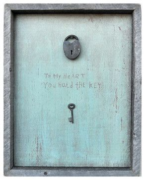 Key To My Heart Turquoise Reclaimed Wood Wall Art - Contemporary - Prints And Posters - Kathy Kuo Home