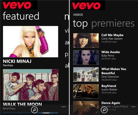 Watch Videos, Live Concerts and Listen Music – VEVO Free Windows Phone App VEVO