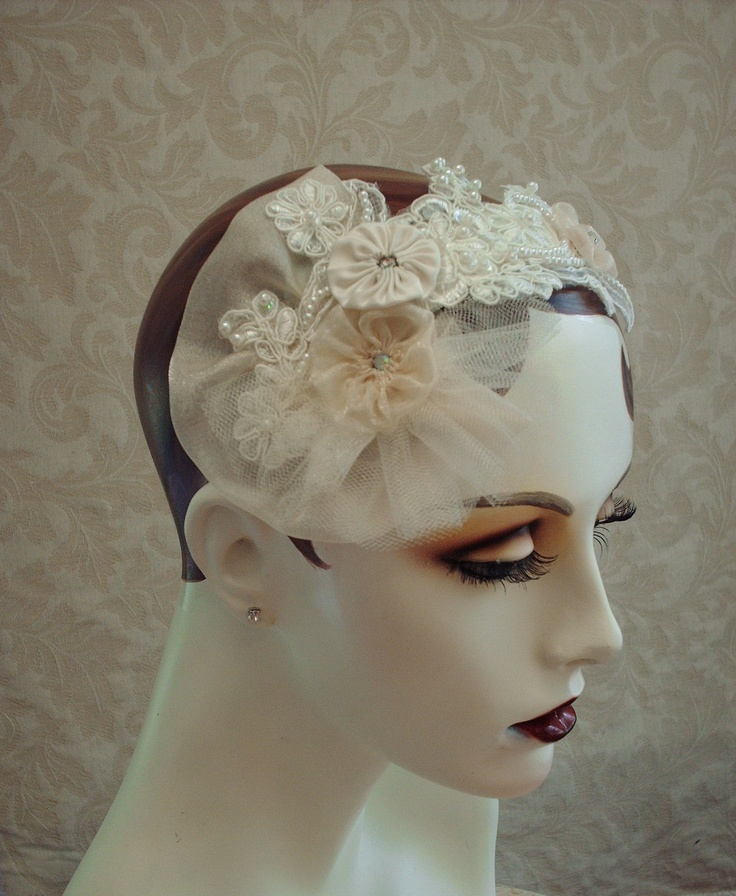 Wedding Veils And Headpieces: Ivory Lace Bridal Headpiece, Weddings, Wedding Headpiece