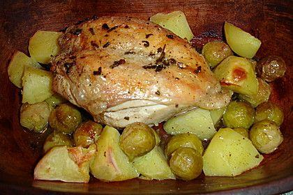 Hähnchen mit Kartoffeln und Rosenkohl im Römertopf (Rezept mit Bild)   Chefkoch.de