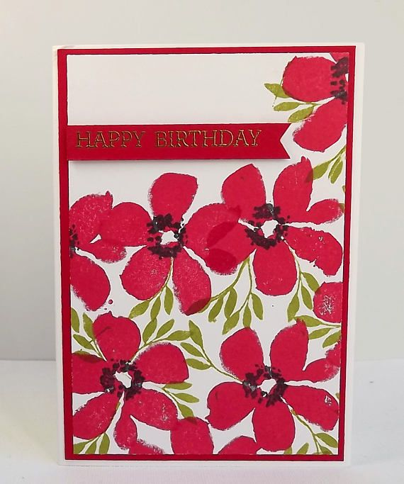 Bright red flower birthday card with gold heat embossed