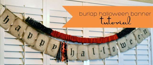 BURLAP HALLOWEEN BANNER - Need a quick Halloween decor idea? This Pottery Barn knockoff is quick and easy to make.