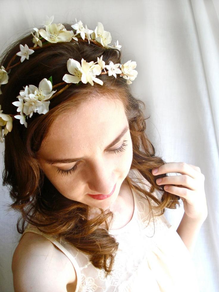 ivory wedding head piece rustic chic - BO PEEP -  flower head wreath.