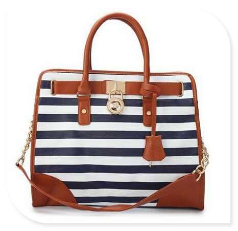 #Micheal Kors Purses Michael Kors Striped Lock Large Navy Totes Offers High