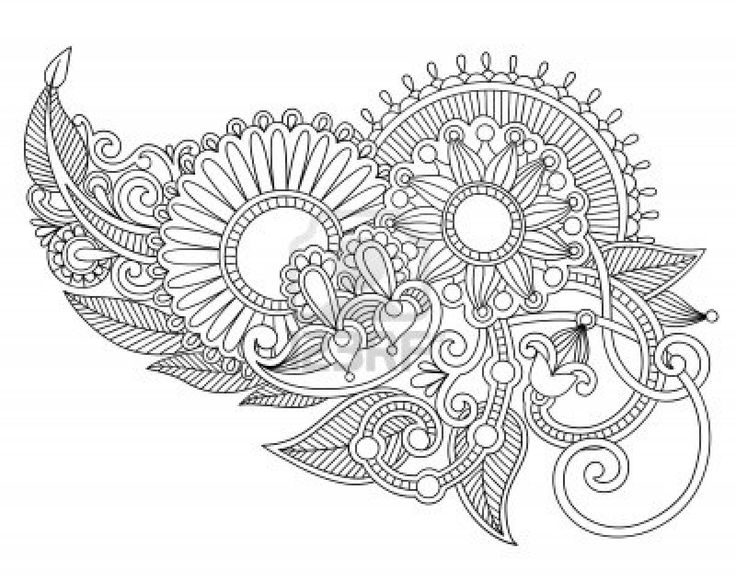 Colour Line Art Design : Hand draw line art ornate flower design ukrainian