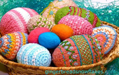 Felted, crocheted, knitted and embroidered eggs