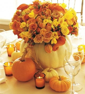 already planning my fall centerpiece. this could work.. also have the pin on how to clean out a pumpkin and use bleach to preserve the inside from rotting.. CANT WAIT.. come on FALL