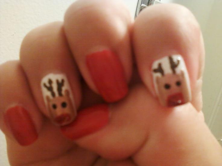 Rudolph Nail Design  An easy Christmas nail design. I'm loving it.