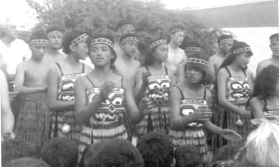 My Kapahaka Group- There I am, front row far right. This is from my primary school days at Moerewa. We went to perform in the township outside the old stone church . I first learned to sing from my mum. She had a beautiful singing voice and could get right up there and reach the high notes. While I was in this culture group she helped me to sew the bodice that I am wearing in this photo.