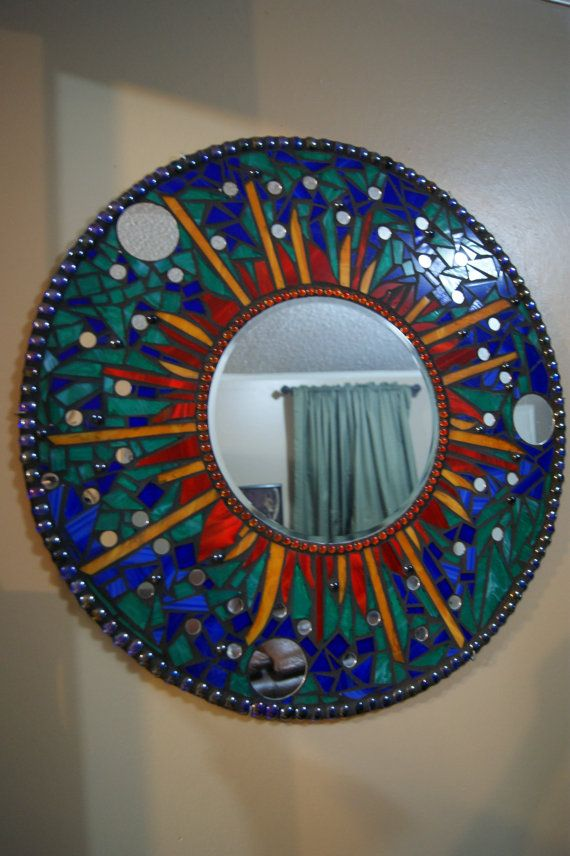 Circle mosaic Mirror PRICE REDUCED by FireFliesInk on Etsy, $250.00