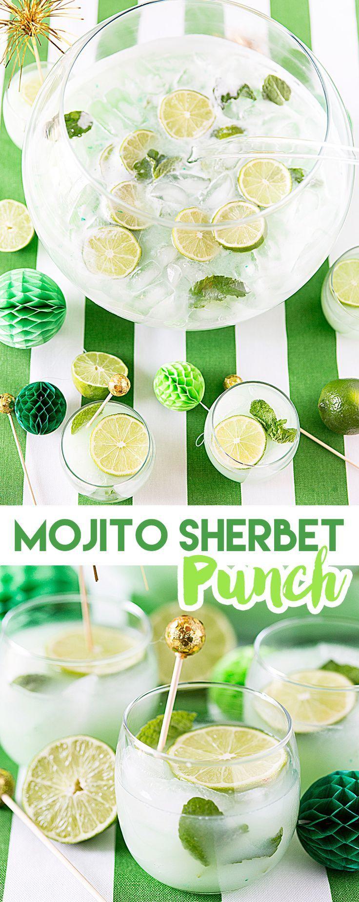 St. Patrick's Day Mojito Sherbet Punch Recipe