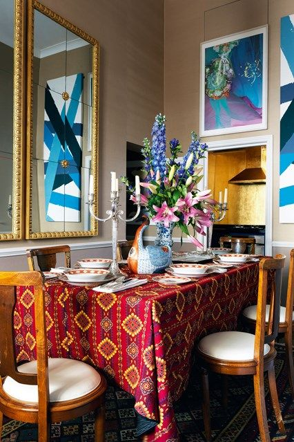 The Dining Room Table in A small flat with antique furniture & patterned wallpaper. Interior design ideas and inspiration for small flats from real homes on House & Garden.