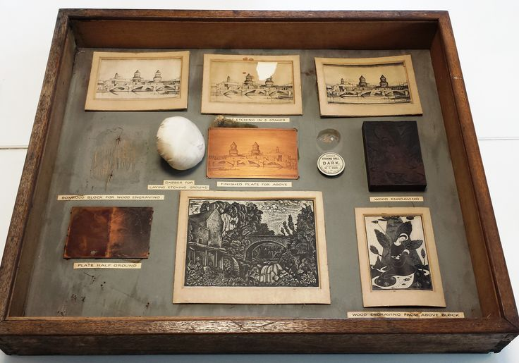 This display case, missing a few pieces, shows the process and materials needed for etching on a metal plate and on wood. Archive reference: NMC/1624