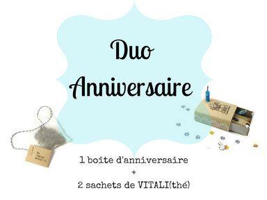 Duo Anniversaire - Boîte d'alumettes d'anniversaire + 2 sachets de thé VITALI(thé), thé, ensemble cadeau, carte de souhaits, souhait de fête par OhLesBonsMots sur Etsy https://www.etsy.com/ca-fr/listing/476940433/duo-anniversaire-boite-dalumettes