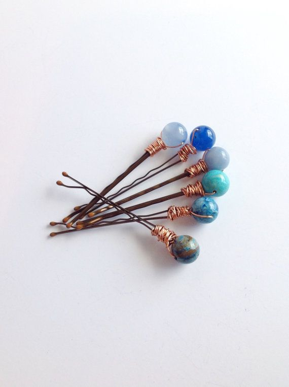 Blue Stone Hair Pins, Wire Wrapped Gemstone Hair Jewelry, Six Beaded Bobby Pins, Boho Chic Wedding Hair Accessory