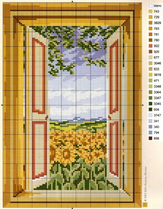 ventana con los numeros de los colores de los hilos