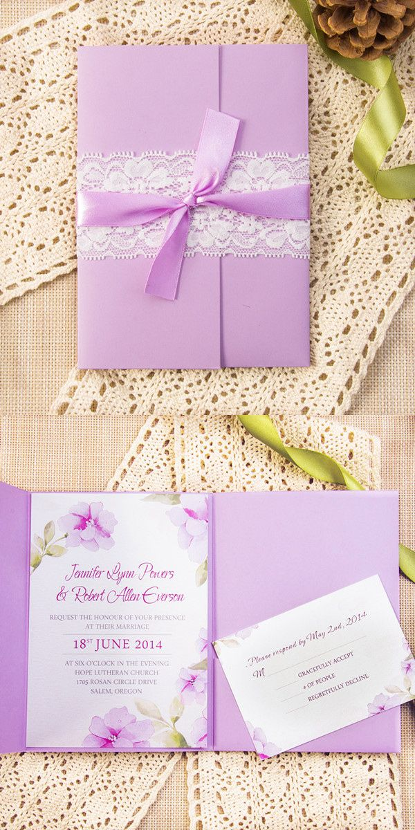 elegant purple pocket wedding invitations