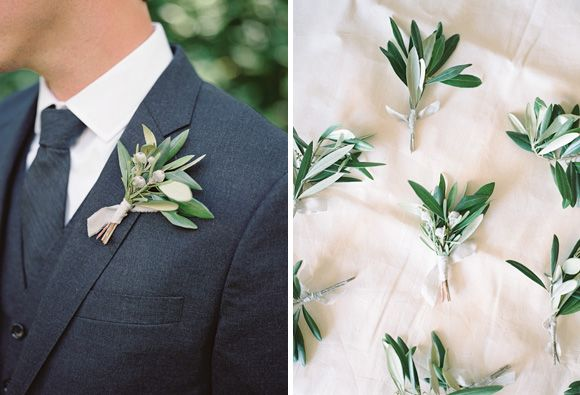 The boutonnieres will be varied construction of bay laurel, jasmine vine, and pepperberry leaves wrapped in thin linen with the stems showing.