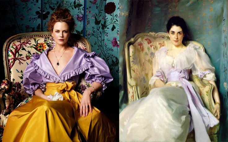 "Nicole Kidman fotografiada por Steven Miesel para VOGUE (1999) recreando el retrato ""Lady Agnew"" (1893) de John Singer Sargent"