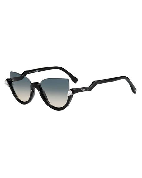 6708f2e5ad3a8 FENDI Half-Rim Crystal Cat-Eye Sunglasses