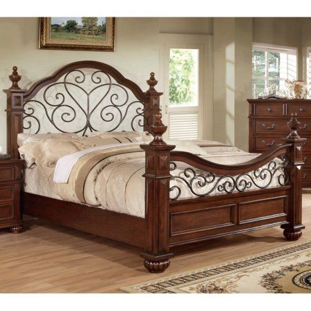 Furniture of America Spiral Stranda Mansion Poster Bed - Poster Bedroom Sets