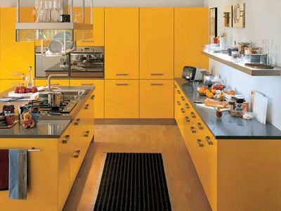 yellow-kitchen-color-cabinets-schemes-ideas-modern