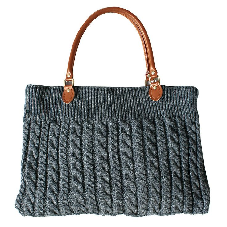 Grey chunky cable knit bag