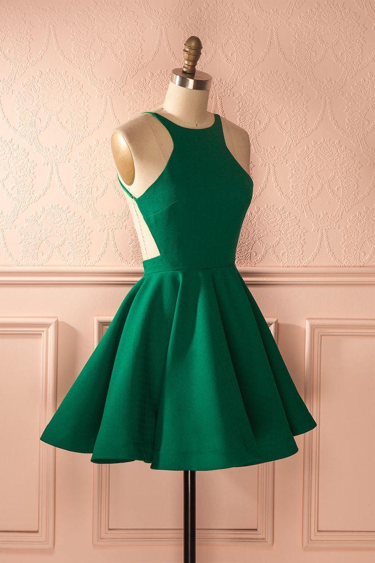 Robe trapèze verte dos ouvert - Green open-back a-line dress