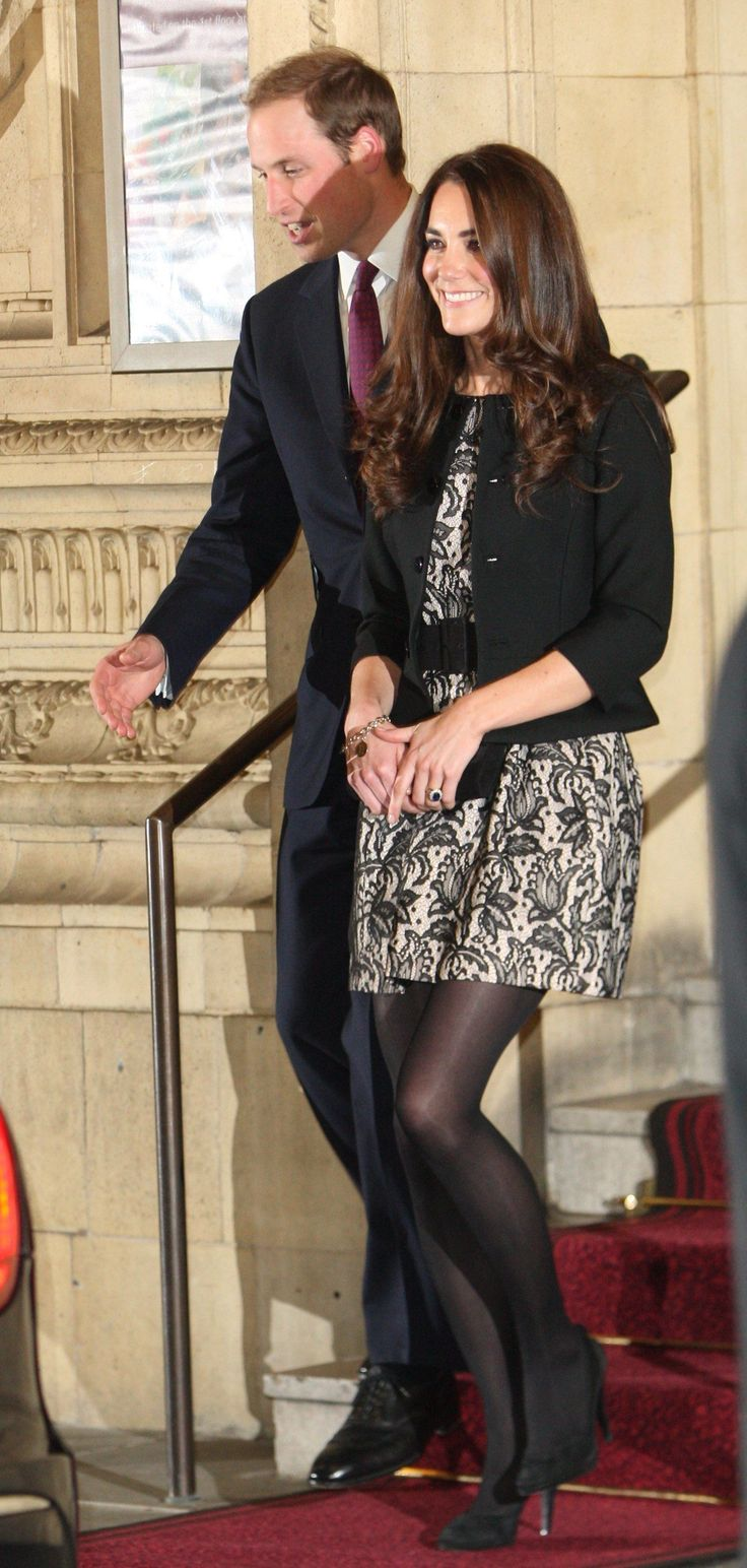Prince William and his fiancé, Kate Middleton, a month after announcing their engagement.