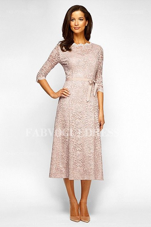 A Line Princess Scalloped Tea Length Lace Mother Of The