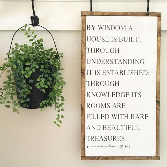 12x24 Proverbs 24:3-4   Rustic Decor  Hand Painted by GracedHouse