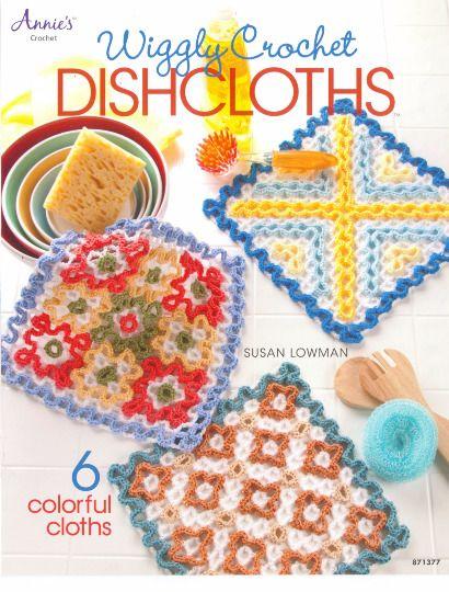 Wiggly Crochet dishcloths Crochet Pattern book Annies Attic  #AnniesAttic