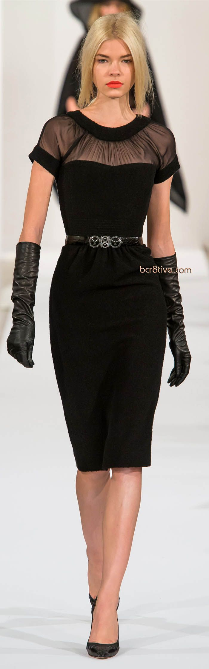 Oscar de la Renta Fall Winter 2013 New York Fashion Week.  Everything is perfect but her hair...should be in a chignon.