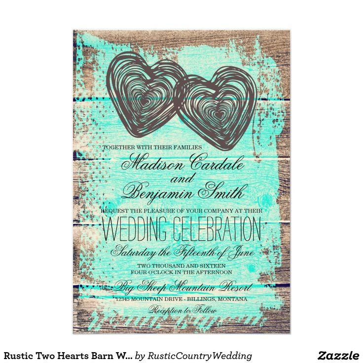 Rustic Two Hearts Barn Wood Aqua Wedding Invitation For A Rustic Country  Wedding. #wedding