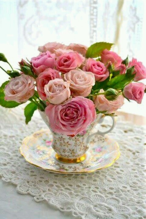 Roses in tea cup