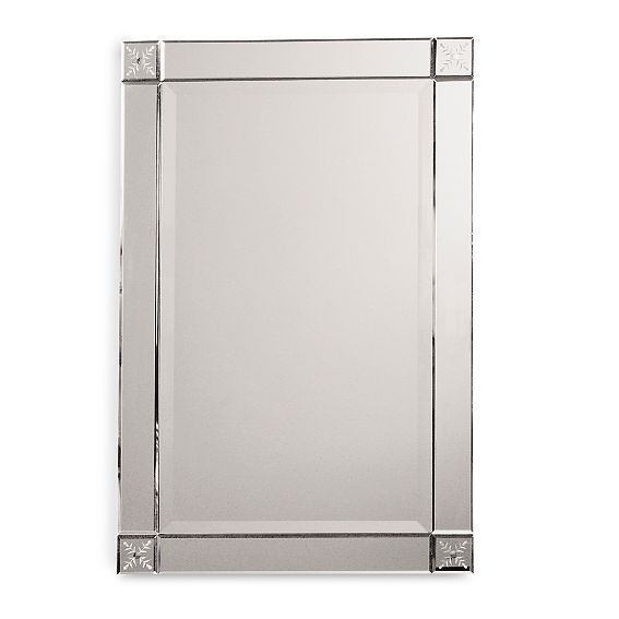 Antique Vintage Rectangle Frameless Beveled Etched Large Wall Mirror 31 X  21 In #Modern