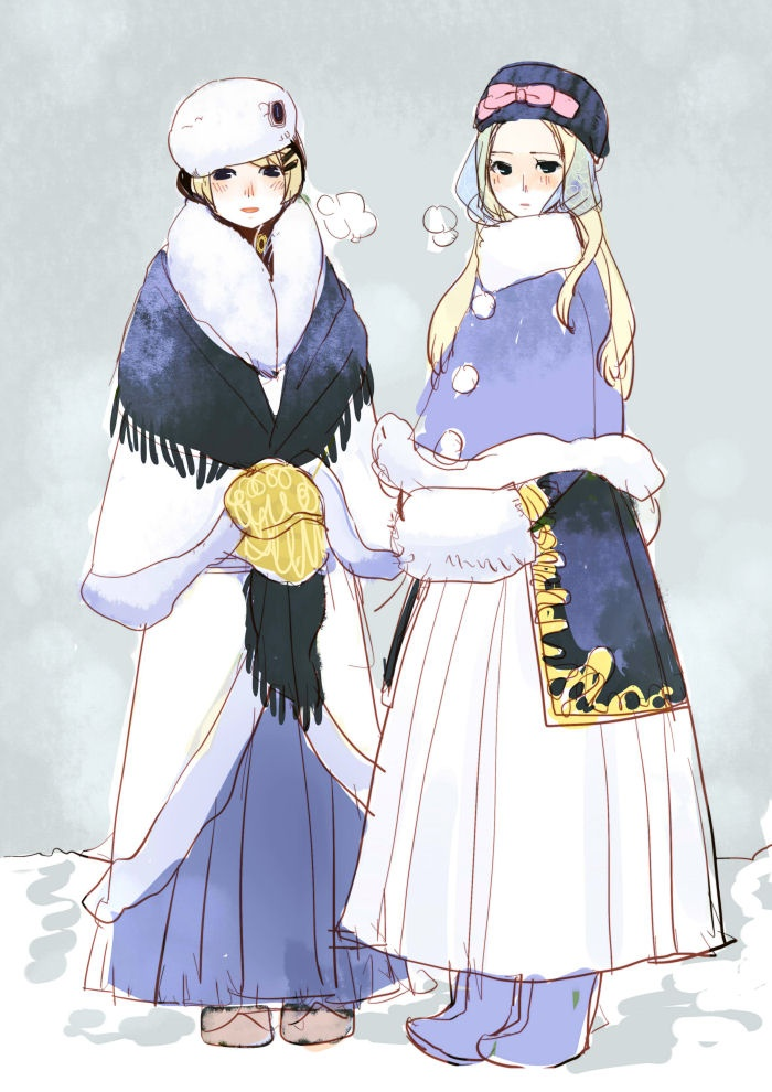 Natalia and Katya (head-canon name for Ukraine) all dressed up for winter, and looking absolutely beautiful - Art by 猫饅頭