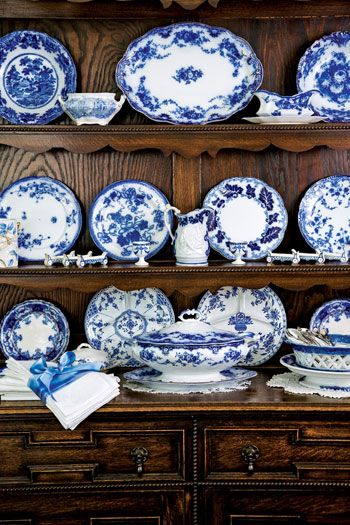 Flow Blue Dishes - this looks a bit like my own kitchen, again.  I do love blue & white in a kitchen!