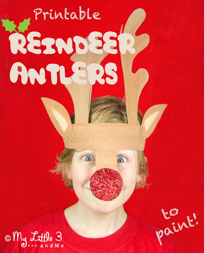 Cute printable reindeer antlers headband to cut out and paint. A fun Christmas craft for kids from My Little 3 and Me.