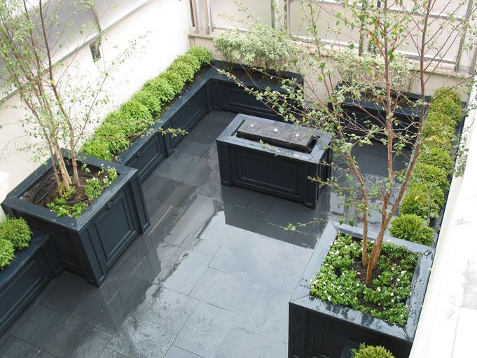 Planters, patio, water feature