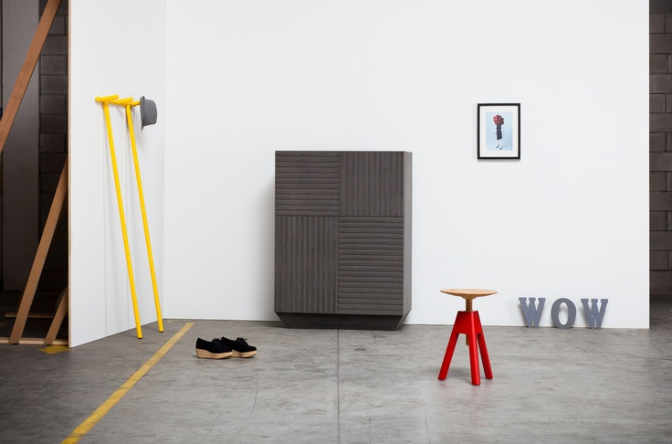 Code Cabinet, Anacleto clothes-stand and Vitos stool, by Miniforms; www.miniforms.eu